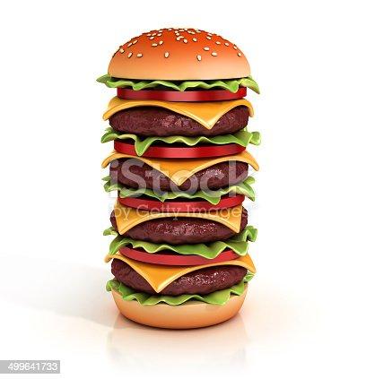 istock hamburger tower 3d illustration 499641733