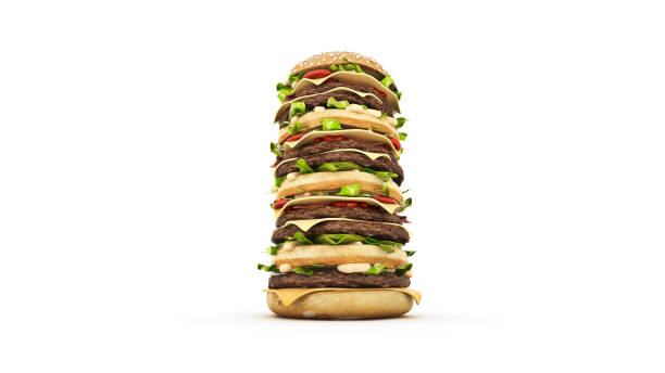 hamburger tower. 3d rendering - high up stock photos and pictures
