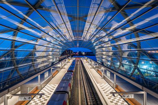 Hamburger train station with modern architecture - S-Bahn Elbbrücken