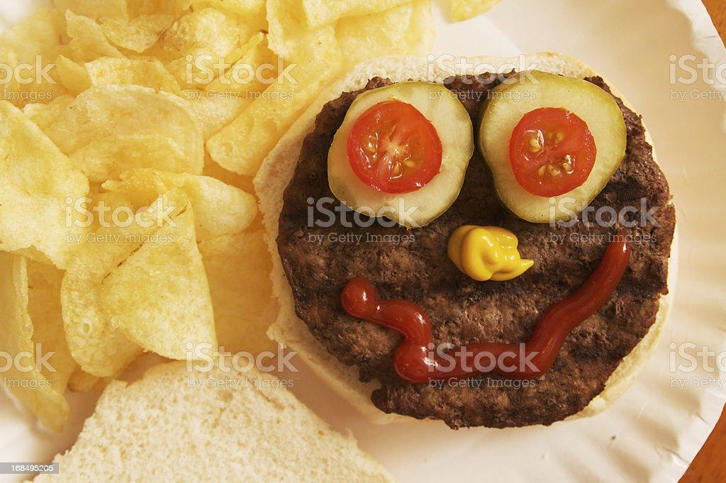 Hamburger avec une drôle de tête - Photo