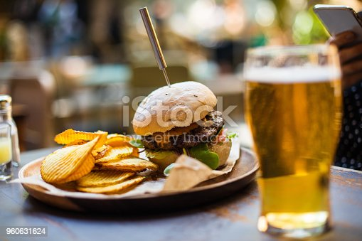 Hamburger with chips & beer