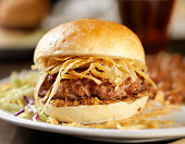 Hamburger with Crispy Onions and Grainy Mustard -Photographed on Hasselblad H3D-39mb Camera