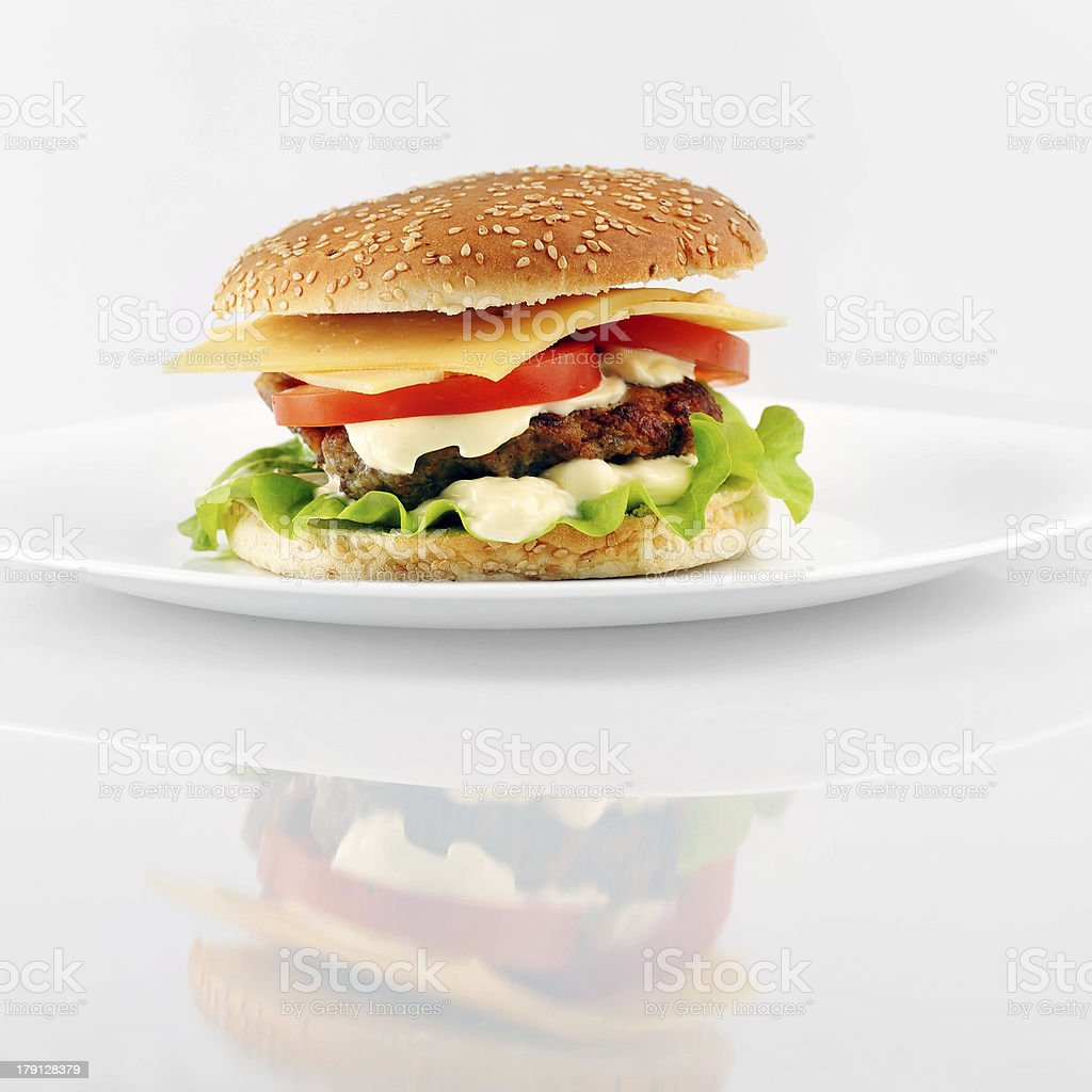 hamburger with cutlet royalty-free stock photo