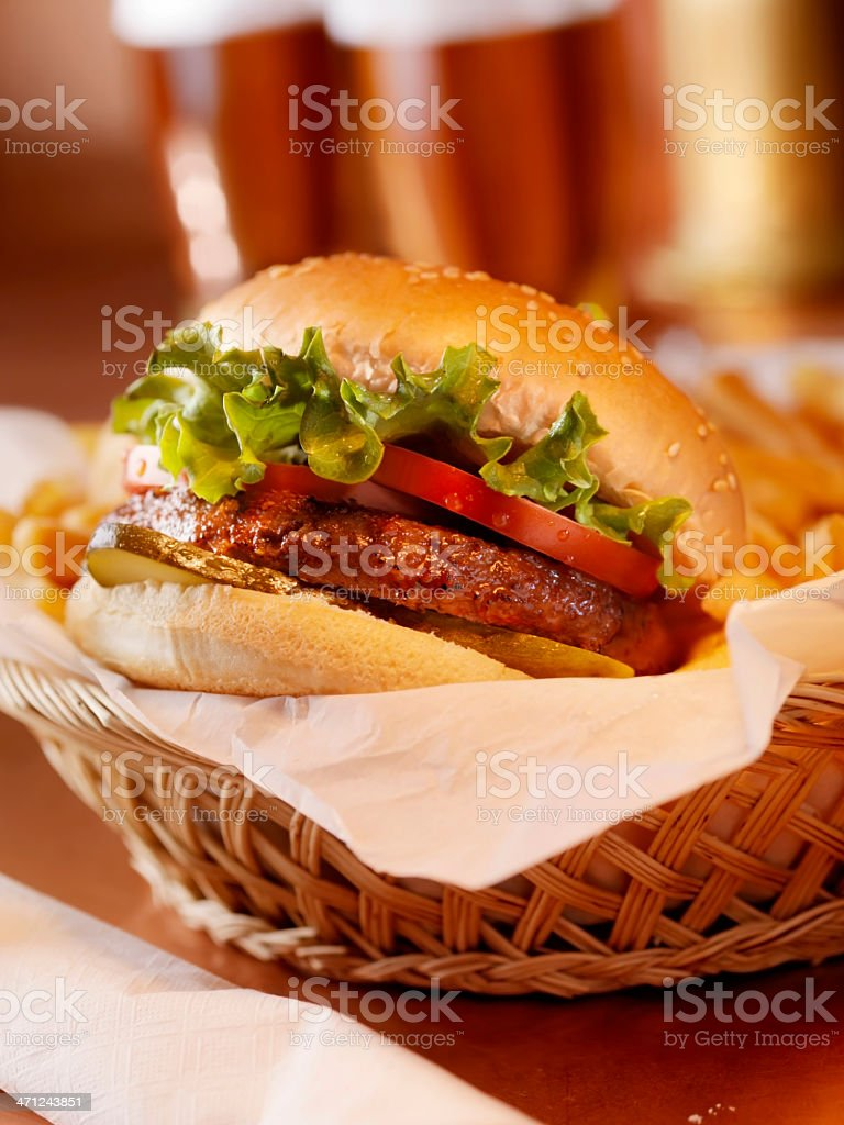 Hamburger with French Fries and a Beer royalty-free stock photo