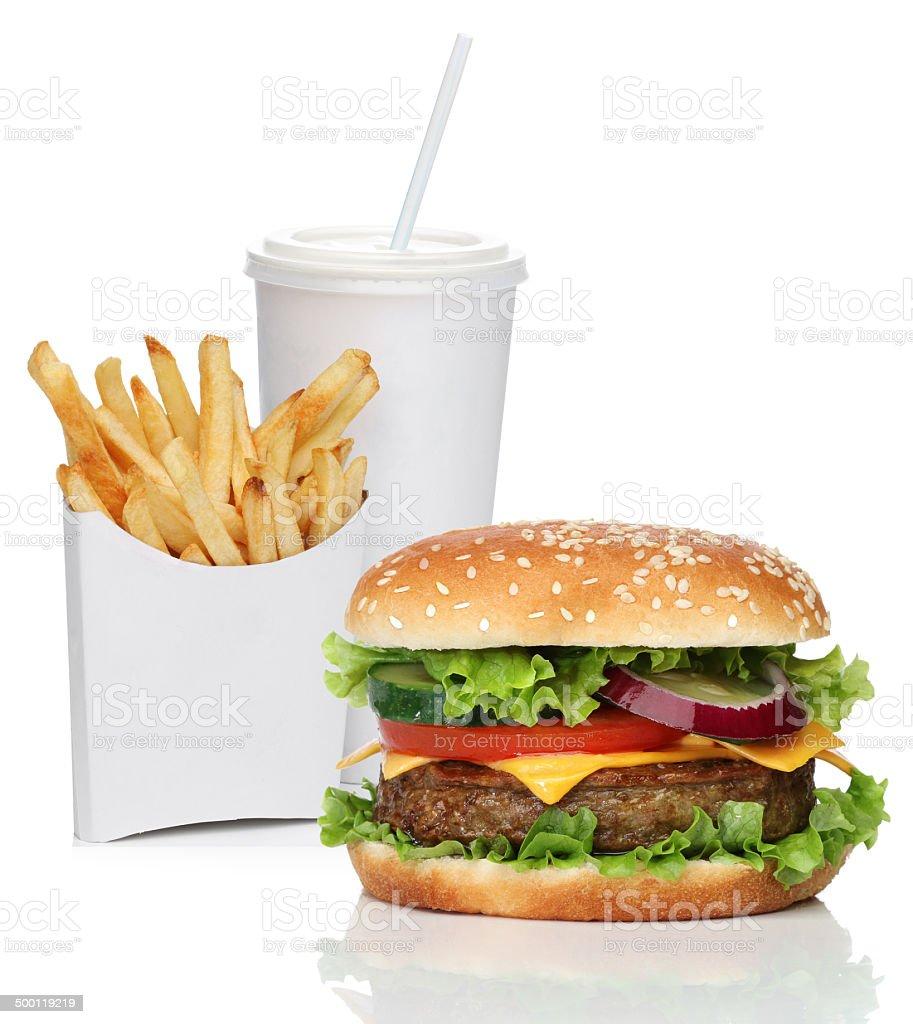 Hamburger avec frites et boisson cola - Photo