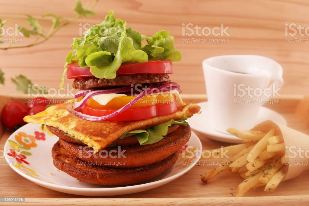 Hamburger with french fries royalty-free stock photo