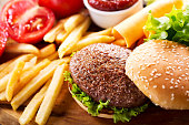 istock hamburger with french fries 865790770