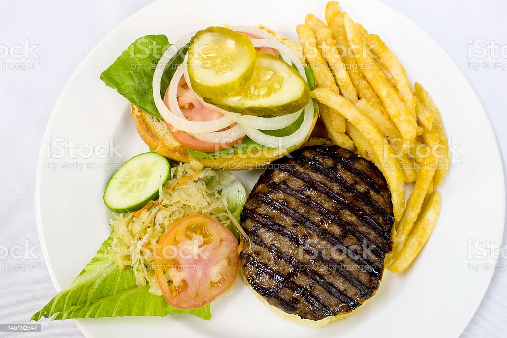 Hamburger with Fries and Coleslaw royalty-free stock photo