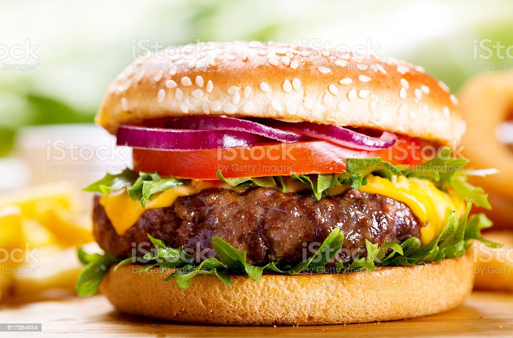hamburger with fries stock photo