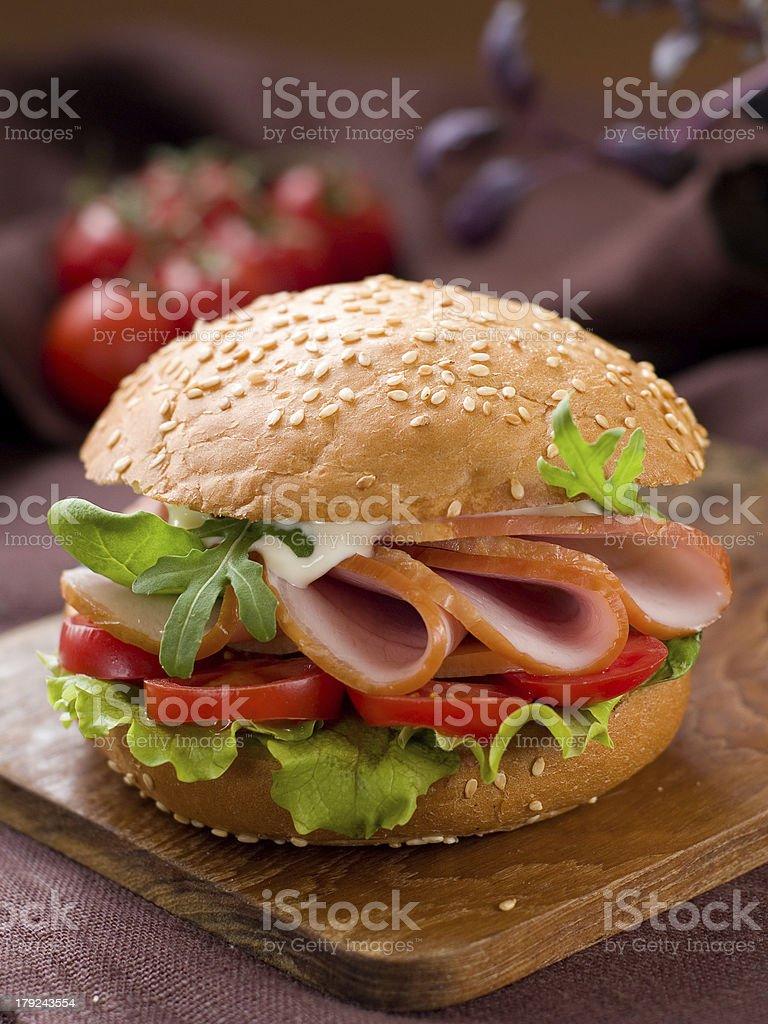 Hamburger with ham royalty-free stock photo