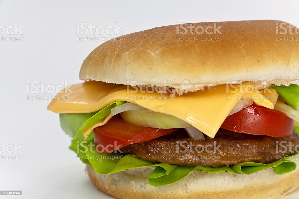 hamburger with lettuce,cheddar,tomato royalty-free stock photo