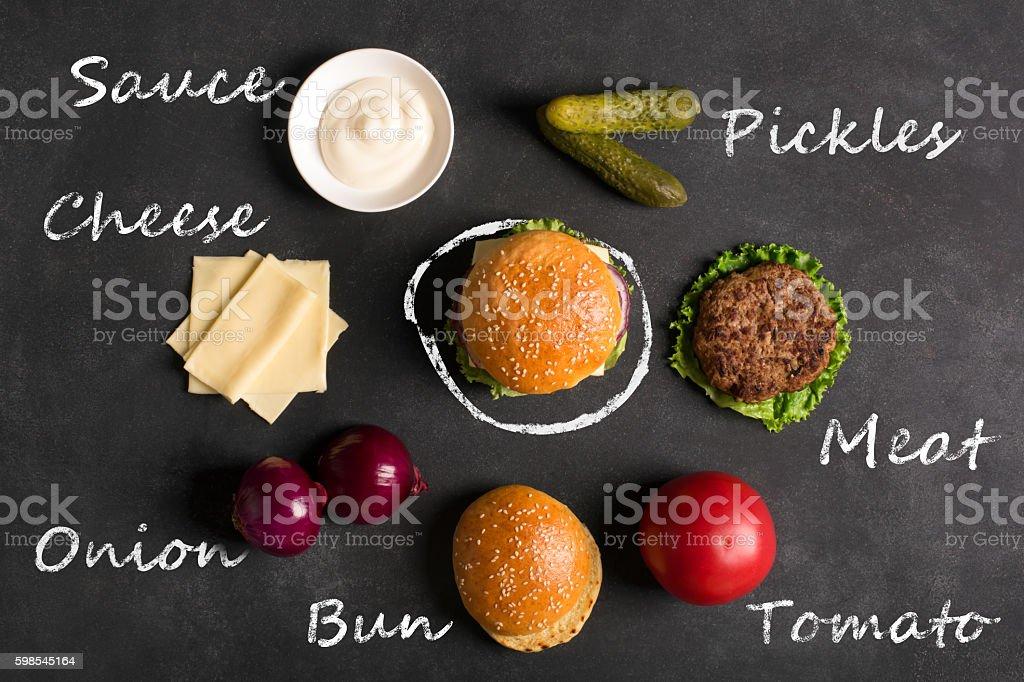 Hamburger with meat cutlet. Inscription of ingredients photo libre de droits