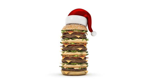hamburger mit santa-hut. 3d-rendering - schnelles weihnachtsessen stock-fotos und bilder