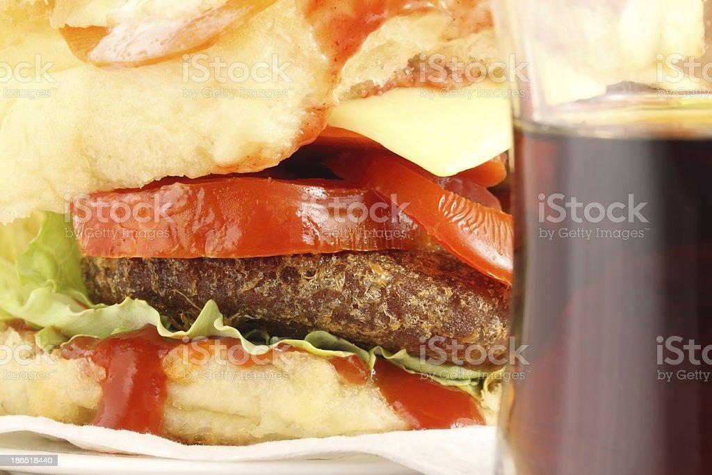 Hamburger with soft drink royalty-free stock photo