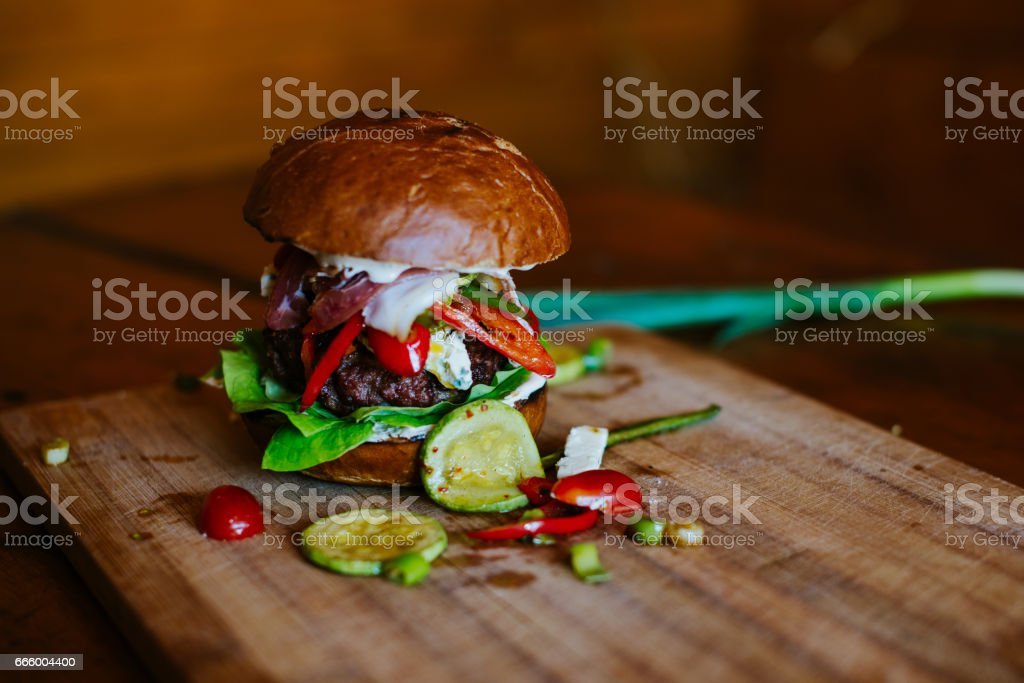 Hamburger with vegetables stock photo