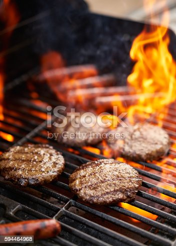 hamburgers and hot dogs being grilled