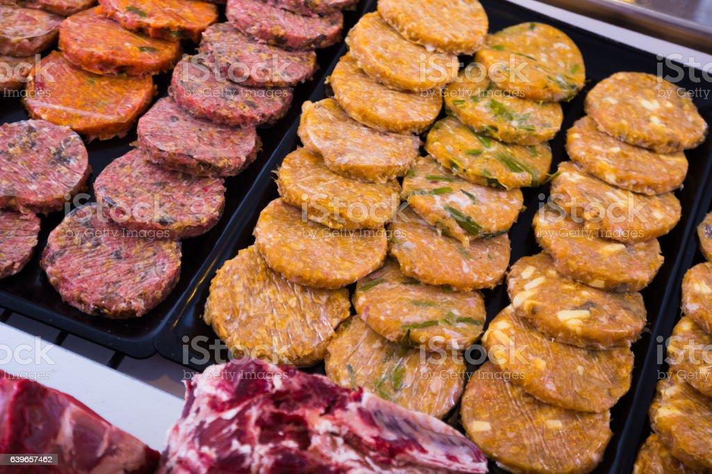 hamburguesa on counter stock photo