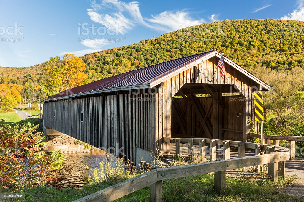 Hamden Covered Bridge in Autumn stock photo