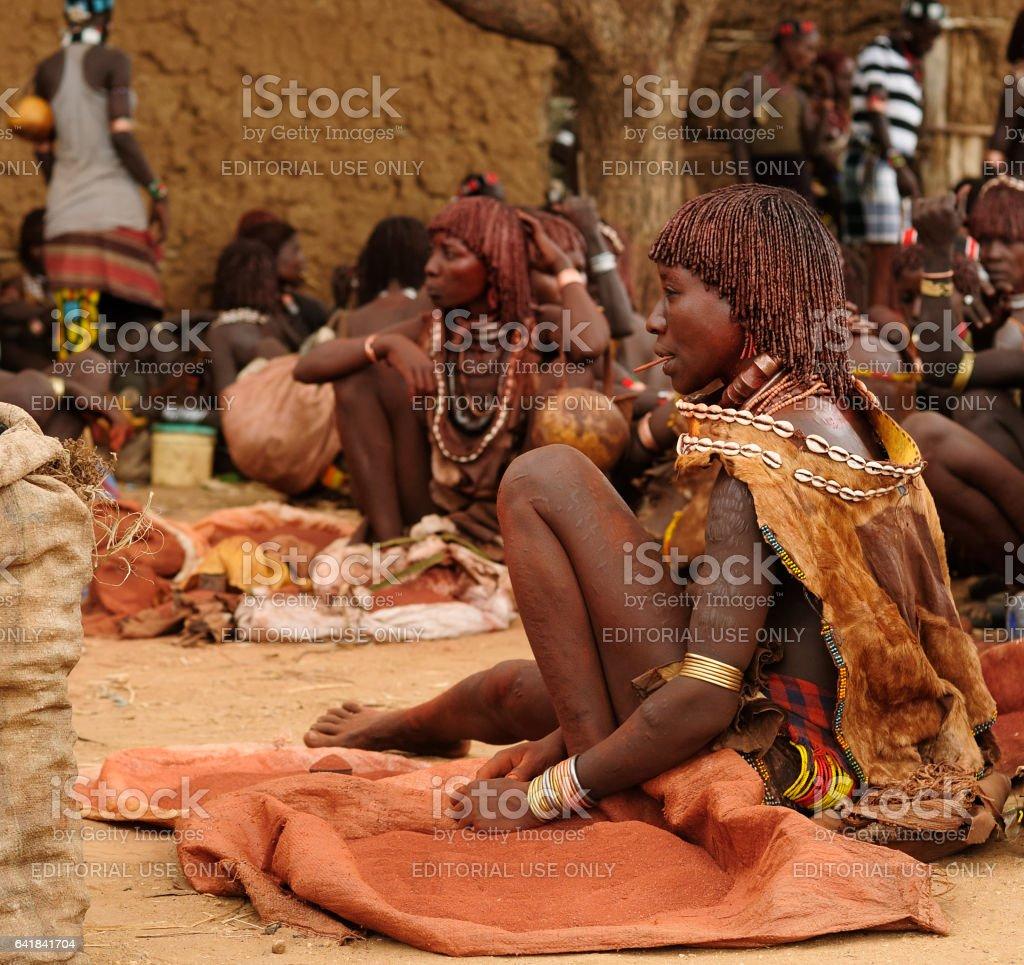 Hamer people on the local marketplace in Turmi stock photo