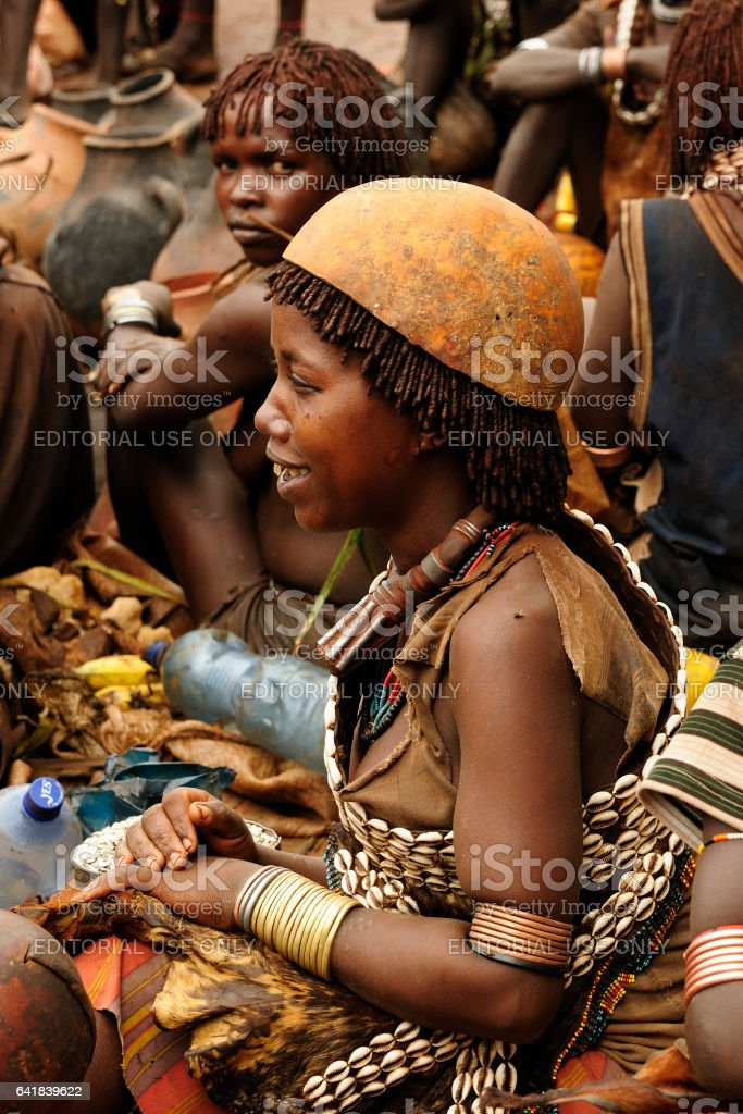 Hamer people on the local marketplace stock photo