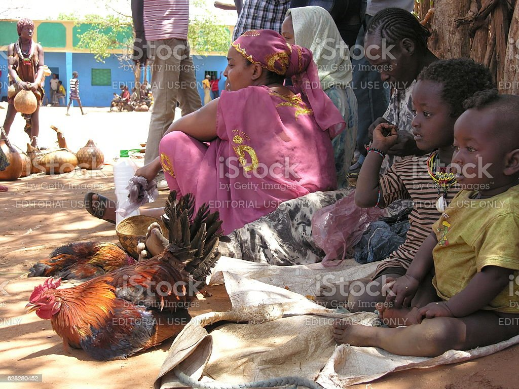 Hamer people sell poultry at market, Dimeka, Valley Omo, Ethiopia. stock photo