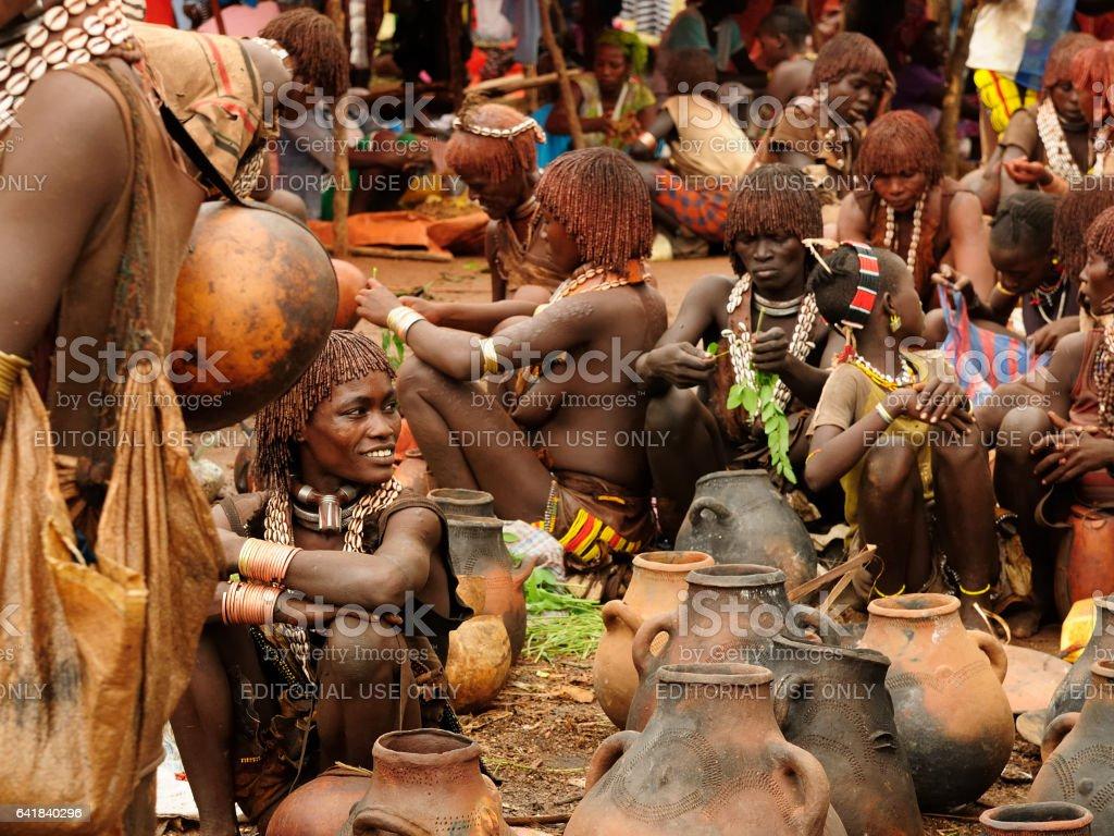 Hamer people women trading on the market stock photo