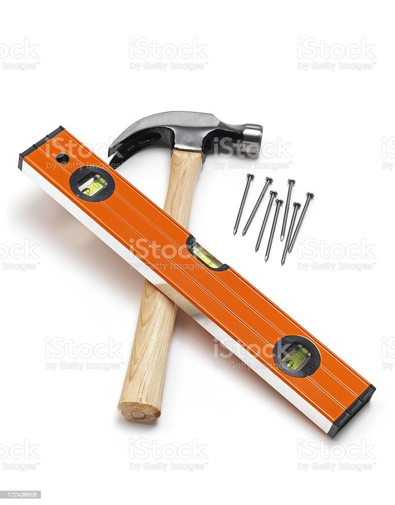 Hamer, spirit level and Nails royalty-free stock photo