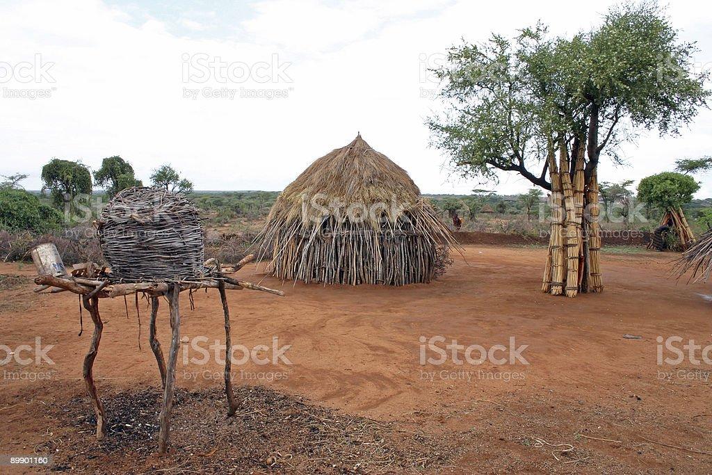 Hamer tribe village royalty-free stock photo