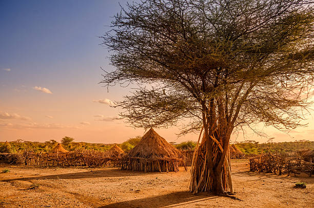 Hamer villaggio vicino Turmi, Etiopia - foto stock