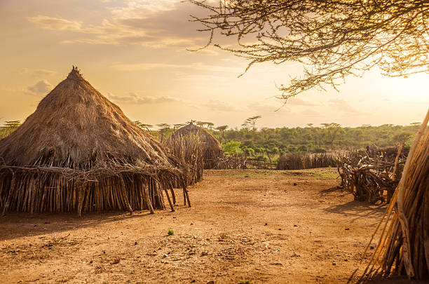 Hamer village near Turmi, Ethiopia stock photo