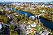 Aerial view from Waikato River, Hamilton, New Zealand