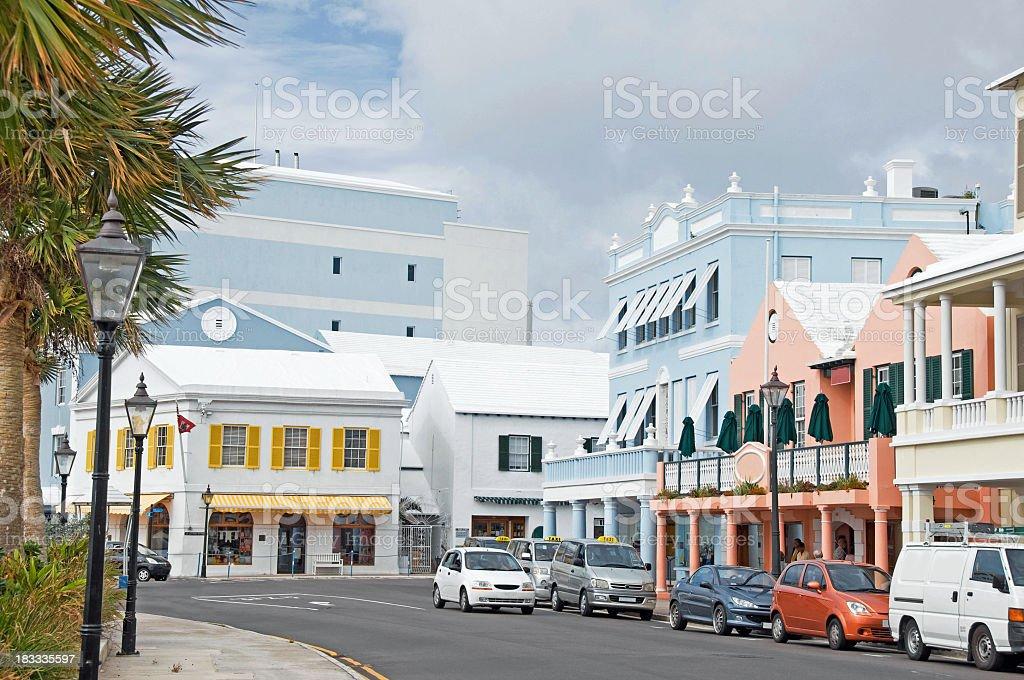 Hamilton, Bermuda ...  Front Street stock photo