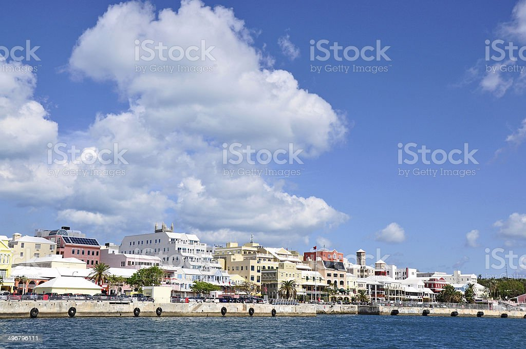 Hamilton, Bermuda, panorama from a ferry showing waterfront. stock photo