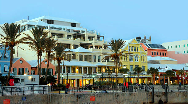 Hamilton, Bermuda- view of the waterfront and stock photo