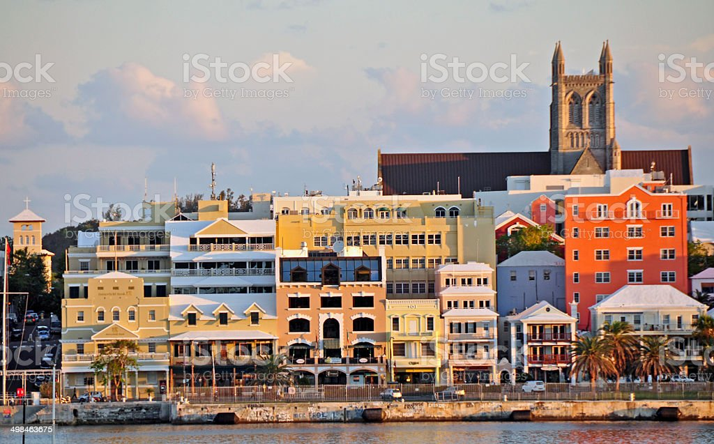 Hamilton, Bermuda- view of the waterfront from a ferry. stock photo
