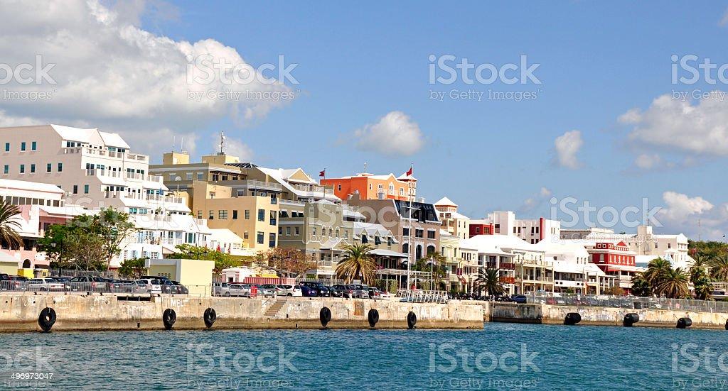 Hamilton, Bermuda, waterfront from a ferry. stock photo