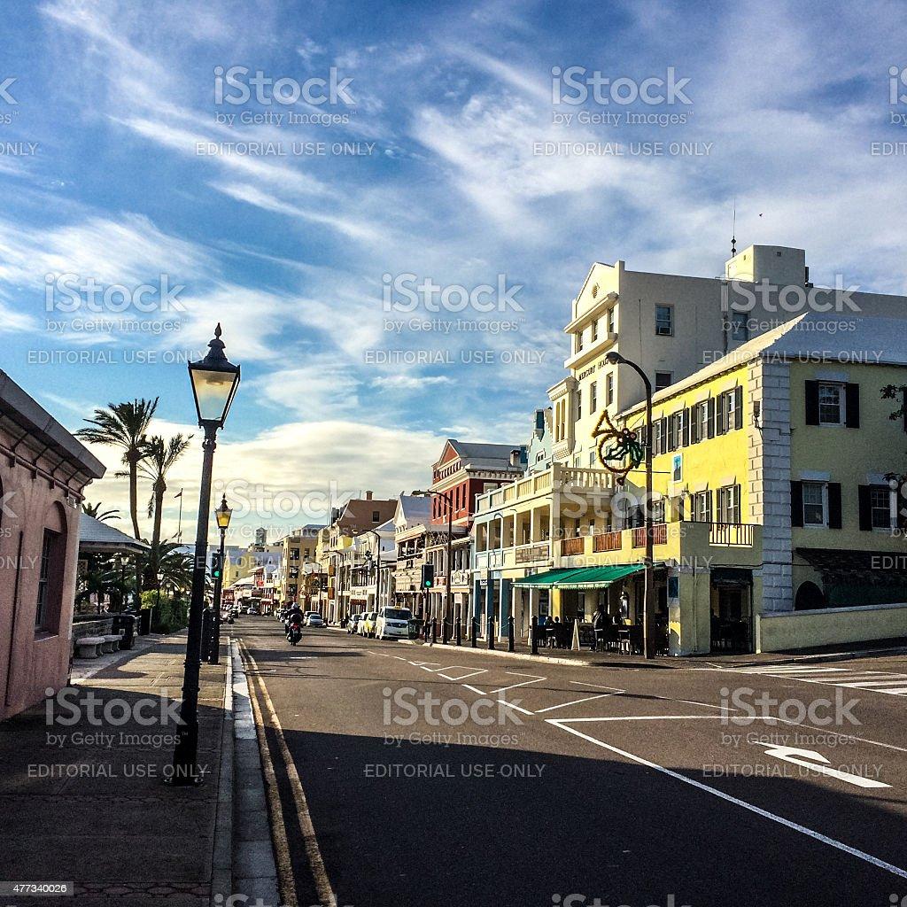 Hamilton Front street, Bermuda stock photo