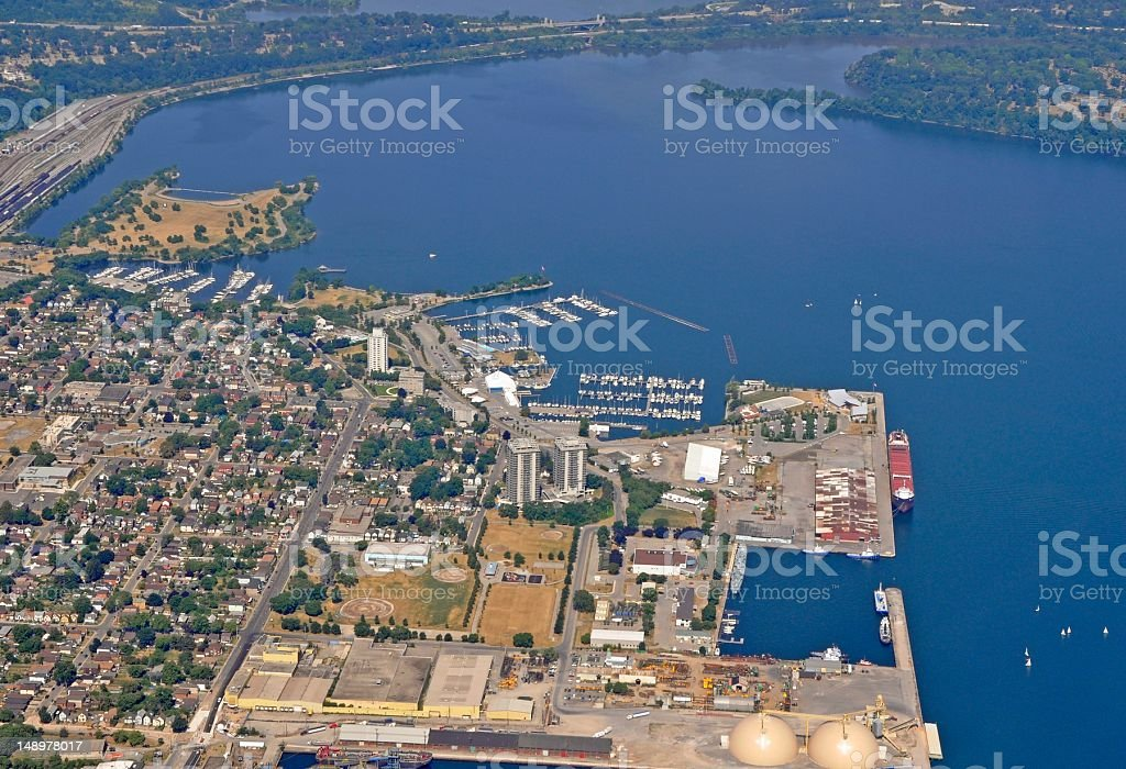 Hamilton Harbour arial stock photo