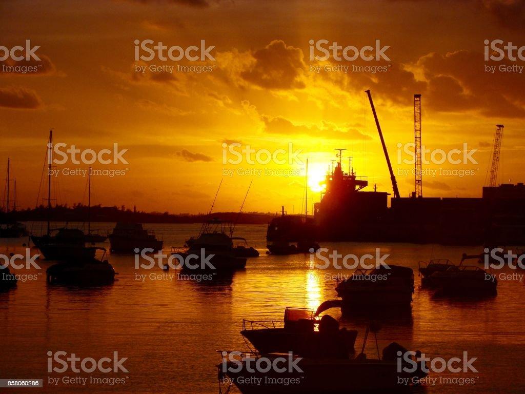 Hamilton Harbour, Bermuda, Sunset stock photo