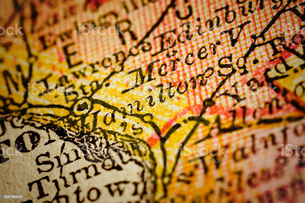 Hamilton | New Jersey on an Antique map stock photo