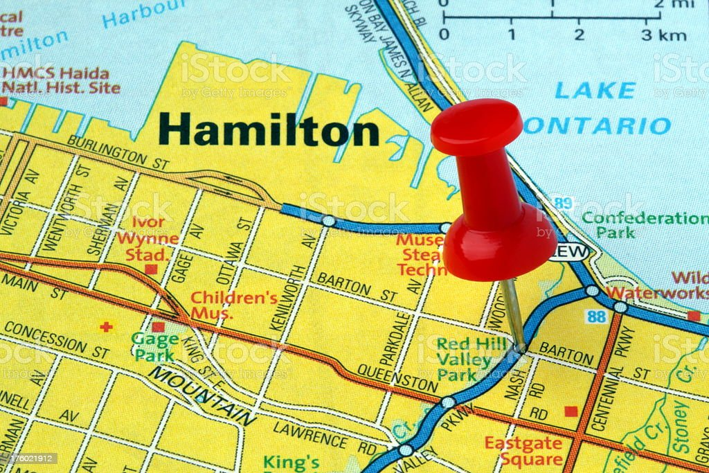 Hamilton Canada Map Hamilton Ontario Canada On A Map Stock Photo   Download Image Now