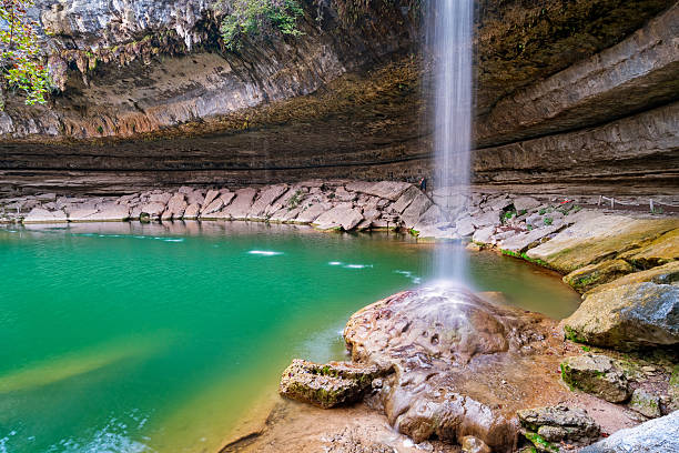 hamilton pool and waterfall near austin texas usa - nature reserve stock photos and pictures
