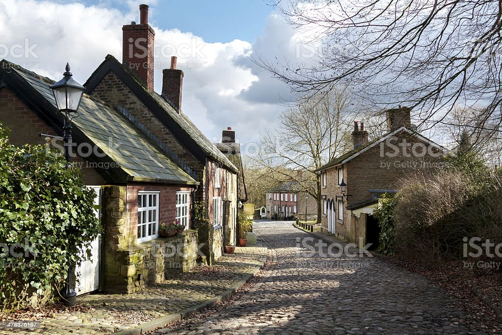 Hamlet Cottages, Firwood Fold, Bolton stock photo