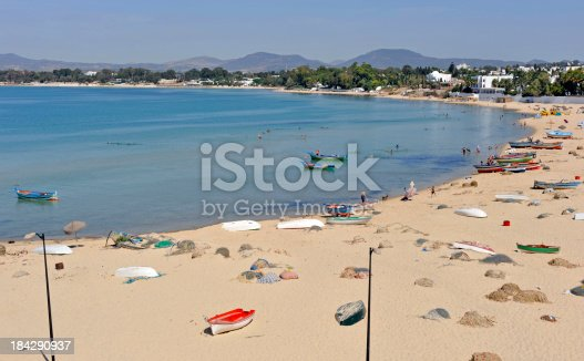 Sandy beach in Hammamet with lots of traditional fishing boat.Tunisia pics