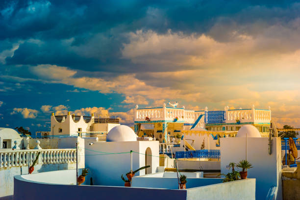 Hammamet, Tunisia. Image of architecture of old medina stock photo