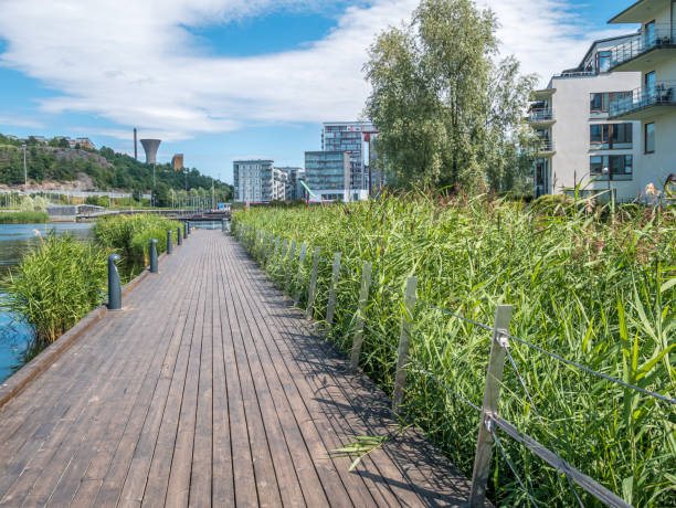 Hammarby Sjostad in Stockholm, Sweden on a summer day. stock photo