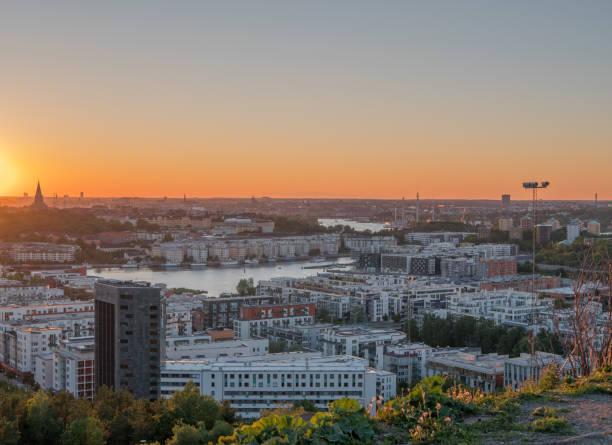 Hammarby Sjöstad, Stockholm. In sunset. stock photo