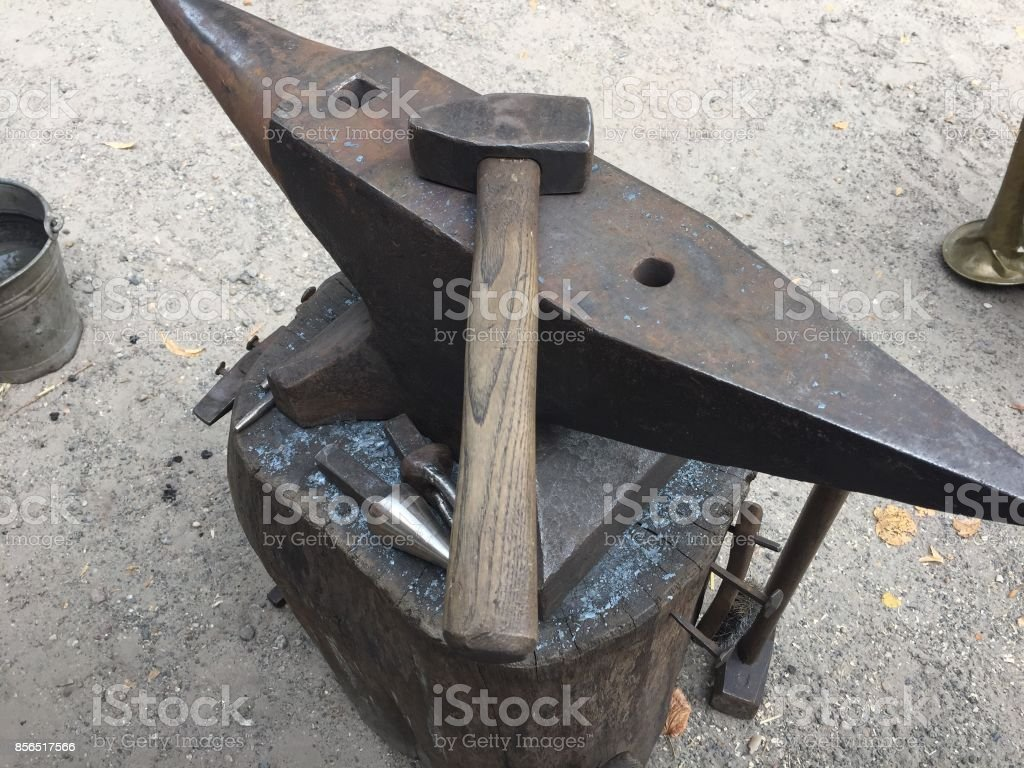 Hammer And Anvil Blacksmith Tools Stock Photo - Download Image Now