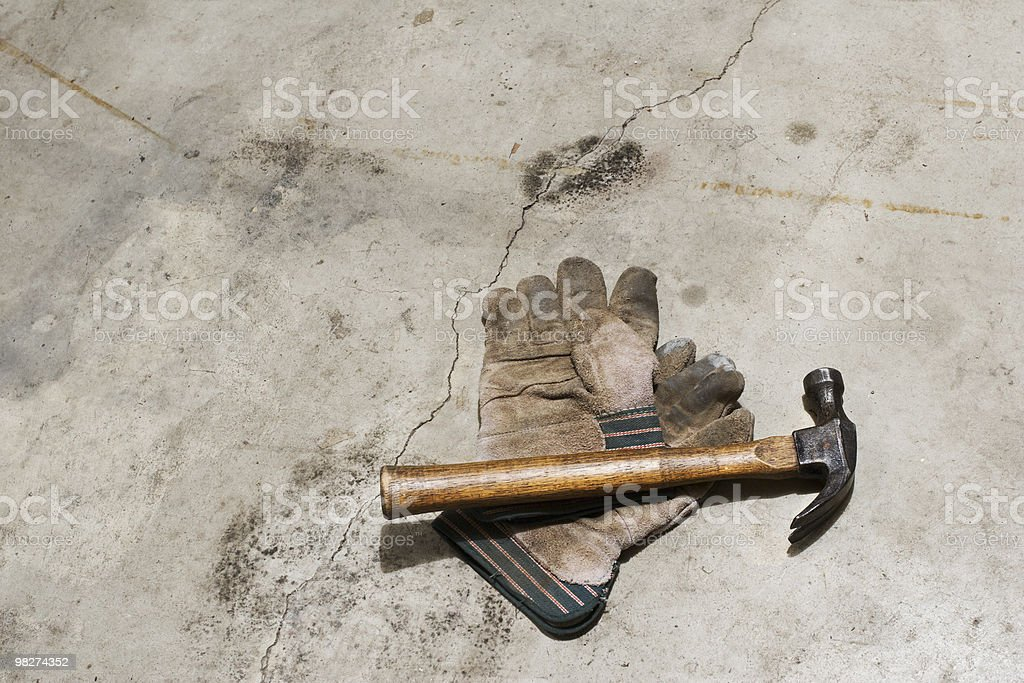 Hammer and Gloves royalty-free stock photo