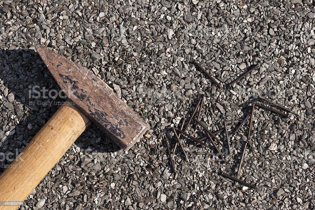 Hammer and nails stock photo